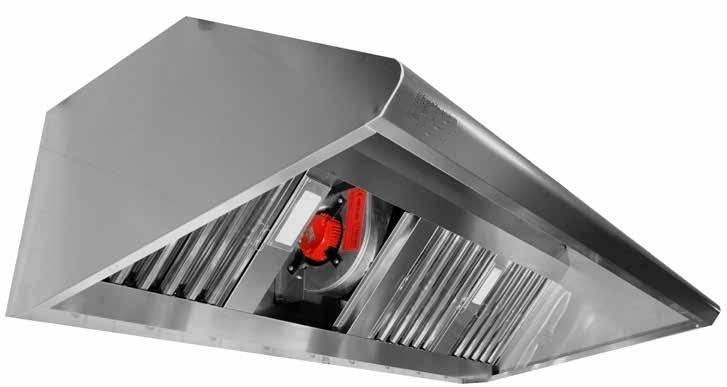 Campana industrial de pared fondo 800 con extractor for Extractor de cocina industrial
